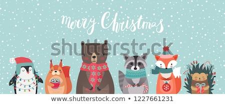 Kış tebrik kartpostal ayı penguen vektör Stok fotoğraf © robuart