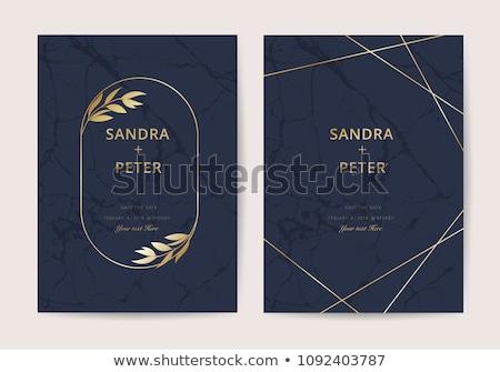 Złoty zaproszenie na ślub karty szablon wektora kwiatowy Zdjęcia stock © orson