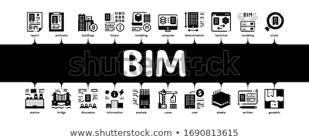Bim Building Information Minimal Infographic Banner Vector Stock photo © pikepicture