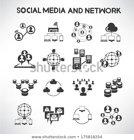 Dati analitica social network icone web utente Foto d'archivio © ayaxmr