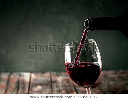 One Glass Of The Red Wine Stok fotoğraf © mythja