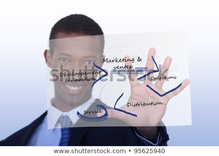 smiling black man in suit showing clear plastic Stock photo © photography33