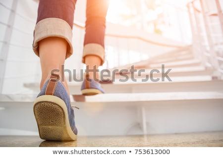 Kadın merdiven yetişkin oturma gülümseme manzara Stok fotoğraf © fotorobs