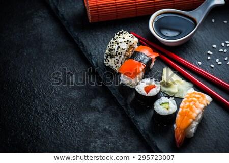 Sushis plaque alimentaire poissons restaurant rouge Photo stock © photography33