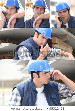 Collage of a construction worker and his walkie talkie Stock photo © photography33