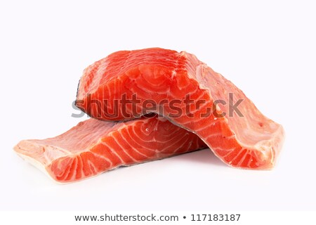 fresh uncooked red fishes fillet over white Stock photo © ozaiachin