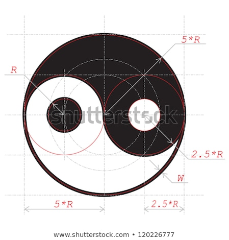 Scheme for drawing of Yin and Yang abstract symbol Stock photo © boroda