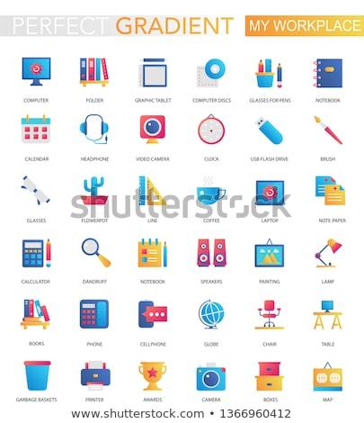 enyém · számítógép · ikon · 3D · számítógép · üzlet · terv - stock fotó © kjpargeter