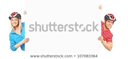 Nő pózol mögött panel fehér szexi Stock fotó © wavebreak_media