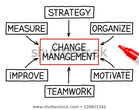 Cambiare gestione diagramma di flusso mano disegno rosso Foto d'archivio © ivelin