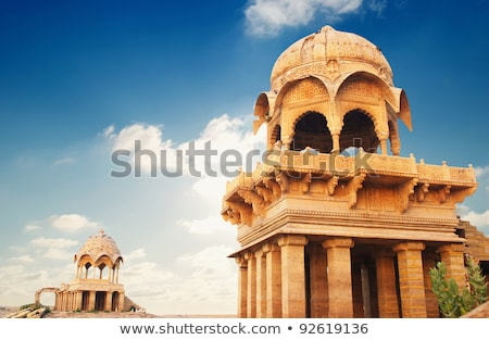old jain cenotaphs on lake in jaisalmer india Stock photo © Mikko