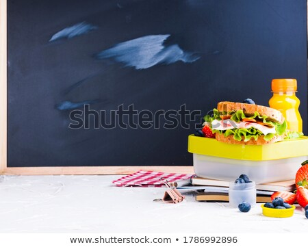 Healthy habits on a school black board Stock photo © Lightsource