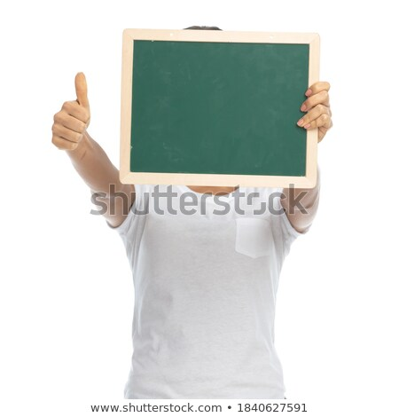 casual woman with blackboard ok stock photo © feedough