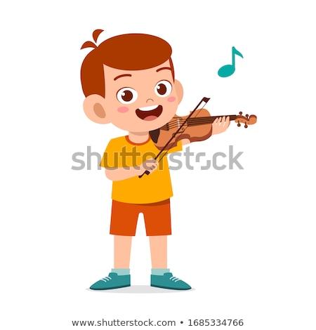 hegedű · gyerek · illusztráció · játszik · fiú · fiatal - stock fotó © zzve
