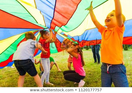 Jongen parachute kind achtergrond kunst Stockfoto © zzve