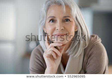 Senior casa cabelos brancos mulher feliz Foto stock © HASLOO