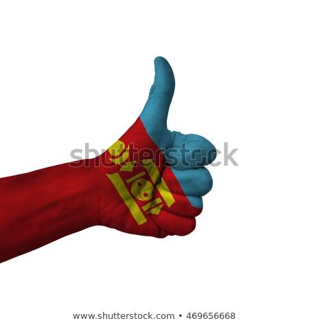 Mongólia bandeira polegar para cima gesto excelência Foto stock © vepar5