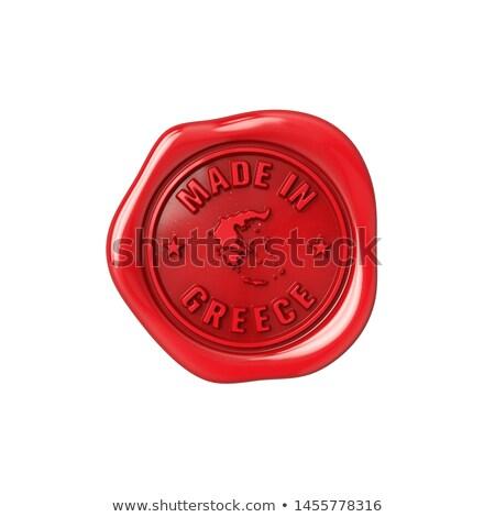 Made in Greece - Stamp on Red Wax Seal. Stock photo © tashatuvango