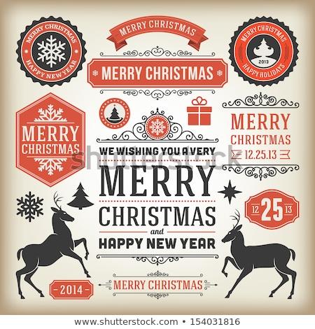 2014 christmas vintage ontwerp schone frame Stockfoto © DavidArts