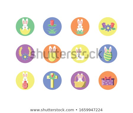 Easter banner with cross and rose, vector illustration Stock photo © carodi