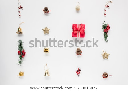 christmas decorations   cones balls berries and paper stock photo © elmiko