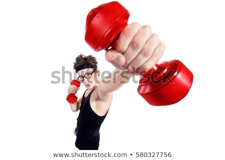 Funny guy with dumbbels on white Stock photo © Elnur