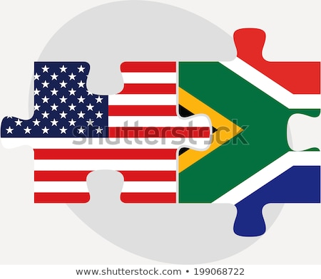 Stock photo: USA and South Africa Flags in puzzle