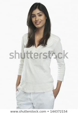 若い女性 立って 手 白人 女性 ストックフォト © bmonteny