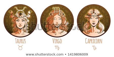 Foto stock: Zodíaco · horóscopo · assinar · beautiful · girl · mulher · terra