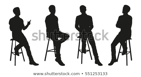 silhouette of a man sitting on a chair Stock photo © gemenacom