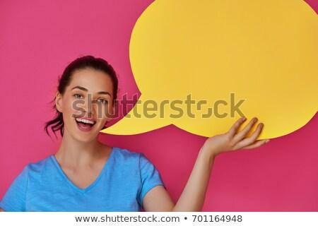 Szuperhős nő képregény gyönyörű képregény beszéd Stock fotó © Kakigori