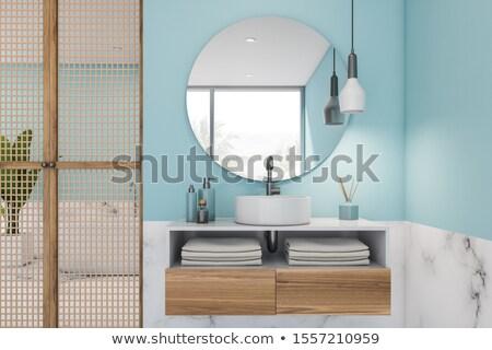 Ahşap kibir dolap açık mavi banyo basit Stok fotoğraf © iriana88w