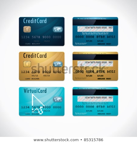 Credit Cards Blue Vector Icon Button Stok fotoğraf © tele52