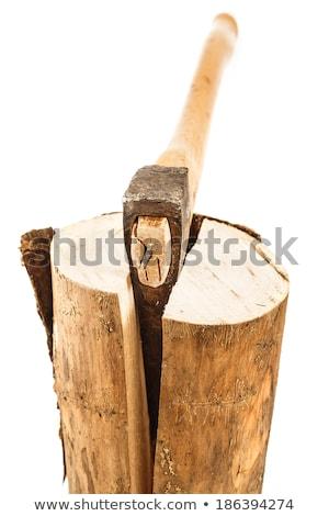 Hatchet Ax and Splitted Wood Logs Stock photo © stevanovicigor