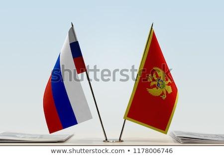 Россия Черногория миниатюрный флагами изолированный белый Сток-фото © tashatuvango