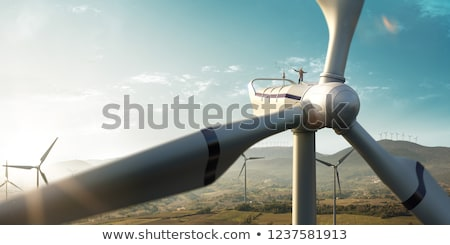 подробность · ветровой · турбины · облака · пейзаж · металл · энергии - Сток-фото © kirill_m