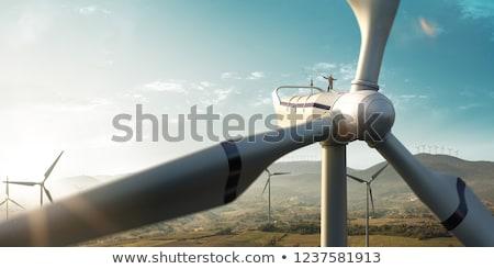 Rüzgar türbini alternatif enerji elektrik elektrik Stok fotoğraf © Kirill_M