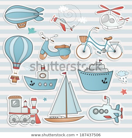 vector graphic colored icon sticker set of traveling and airport stock photo © feabornset