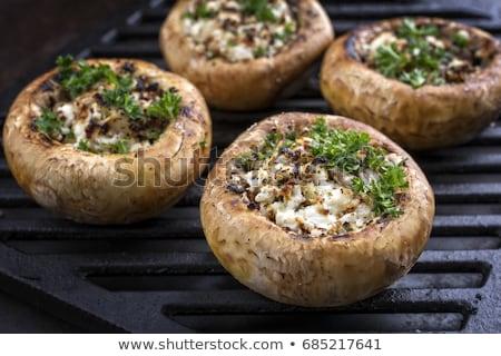 Recheado cogumelos pão salsa alho Foto stock © chris2766