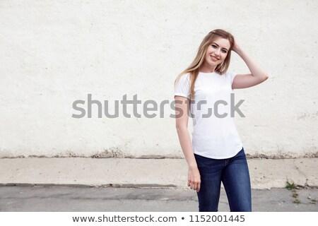 çekici kız beyaz gömlek güzel memeler çekici Stok fotoğraf © fotoduki