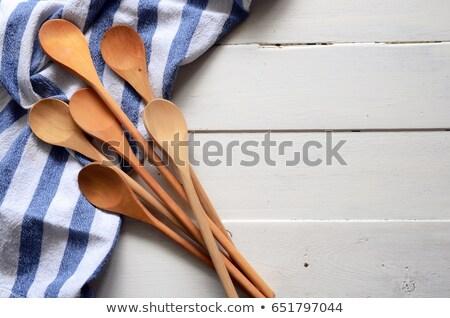 Thee handdoek houten spatel Rood witte Stockfoto © Digifoodstock