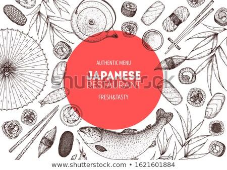 sushi · ontwerp · ingesteld · voedsel · vis · hart - stockfoto © netkov1