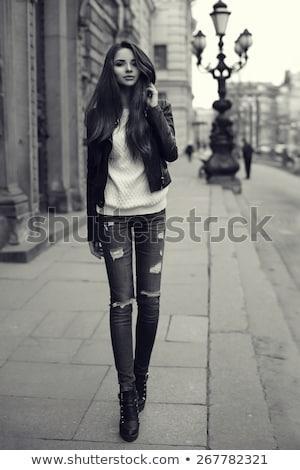 少女 ブーツ 美しい 若い女性 暗い ストックフォト © svetography