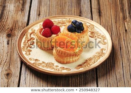 gebak · frambozen · vers · mint · dessert · eten - stockfoto © digifoodstock