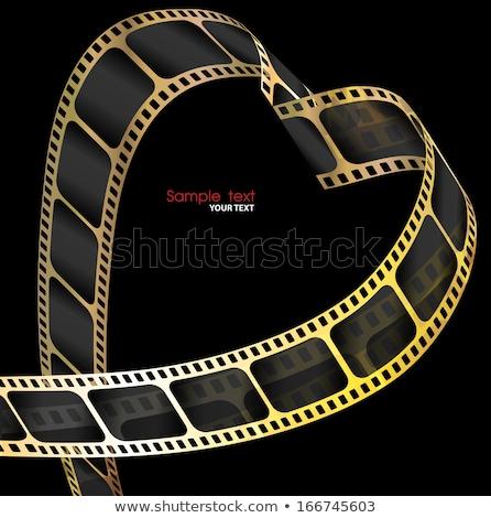 сердце черный слайдов золото символ отражение Сток-фото © timbrk
