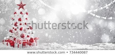 Stock fotó: Fényes · karácsonyfa · díszítések · rajzolt · hó · közelkép