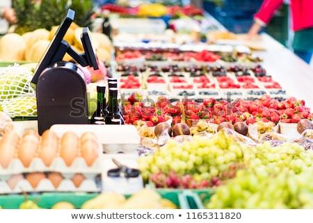 Caisse enregistreuse légumes table pain table en bois fond Photo stock © superelaks