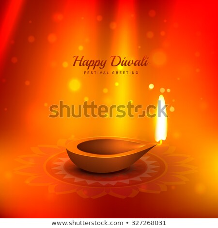 beautiful diwali background with diya and light rays coming from stock photo © sarts