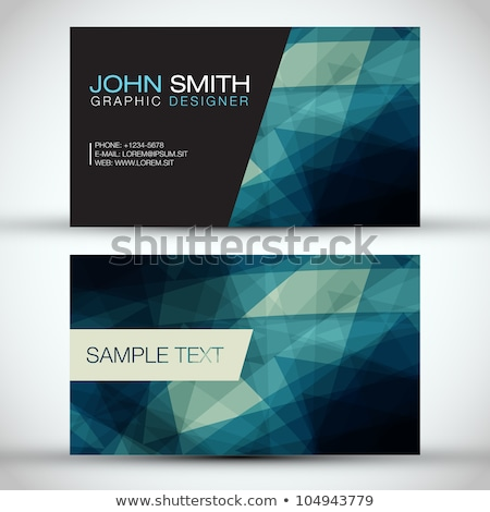 blue business card template with triangle patterns Stock photo © SArts