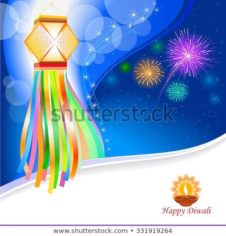 Дивали фестиваля празднования баннер фейерверк подвесной Сток-фото © SArts